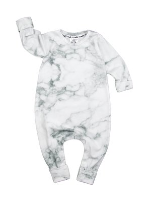 LONG SLEEVES ROMPER WHITE MARBLE