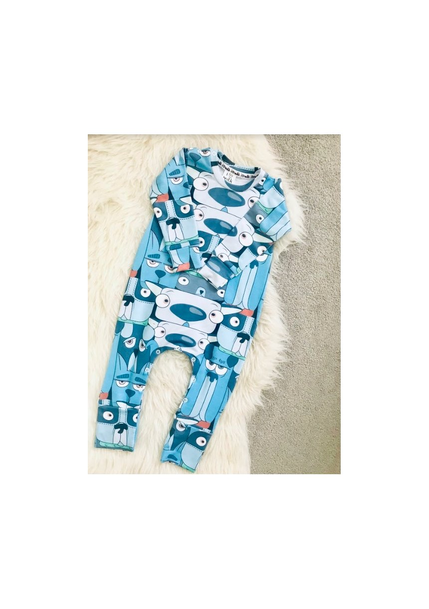 ROMPER CARTOON DOGS PRINT