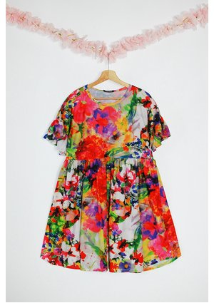 MUM  DRESS IN SUMMER FLOWERS PRINT