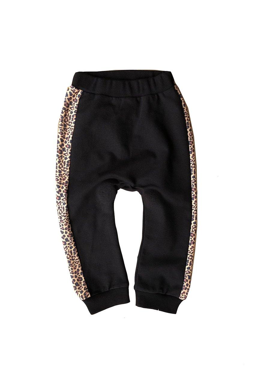 Spodnie ze wstawką leopard