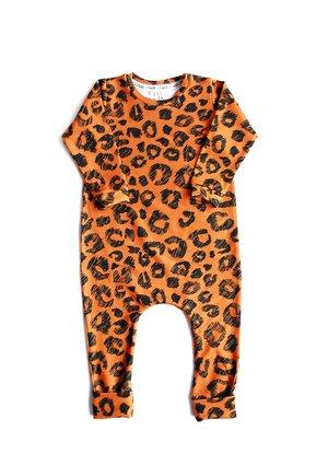 Romper długi rękaw print orange leopard