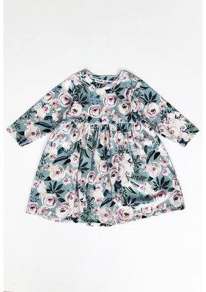 Sukienka velvet w kwiaty Miętowa