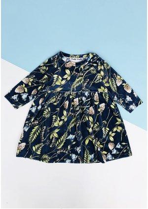 Sukienka velvet w kwiaty Granatowe