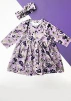 Sukienka velvet w kwiatki Fioletowa