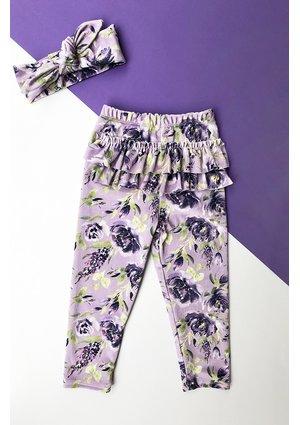 Legginsy velvet w kwiatki Fiolet