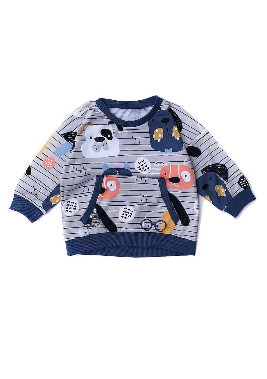 Bluzaz bawełny print Dog Navy