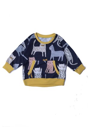 Bluza z kieszenią print Koty musztardowe
