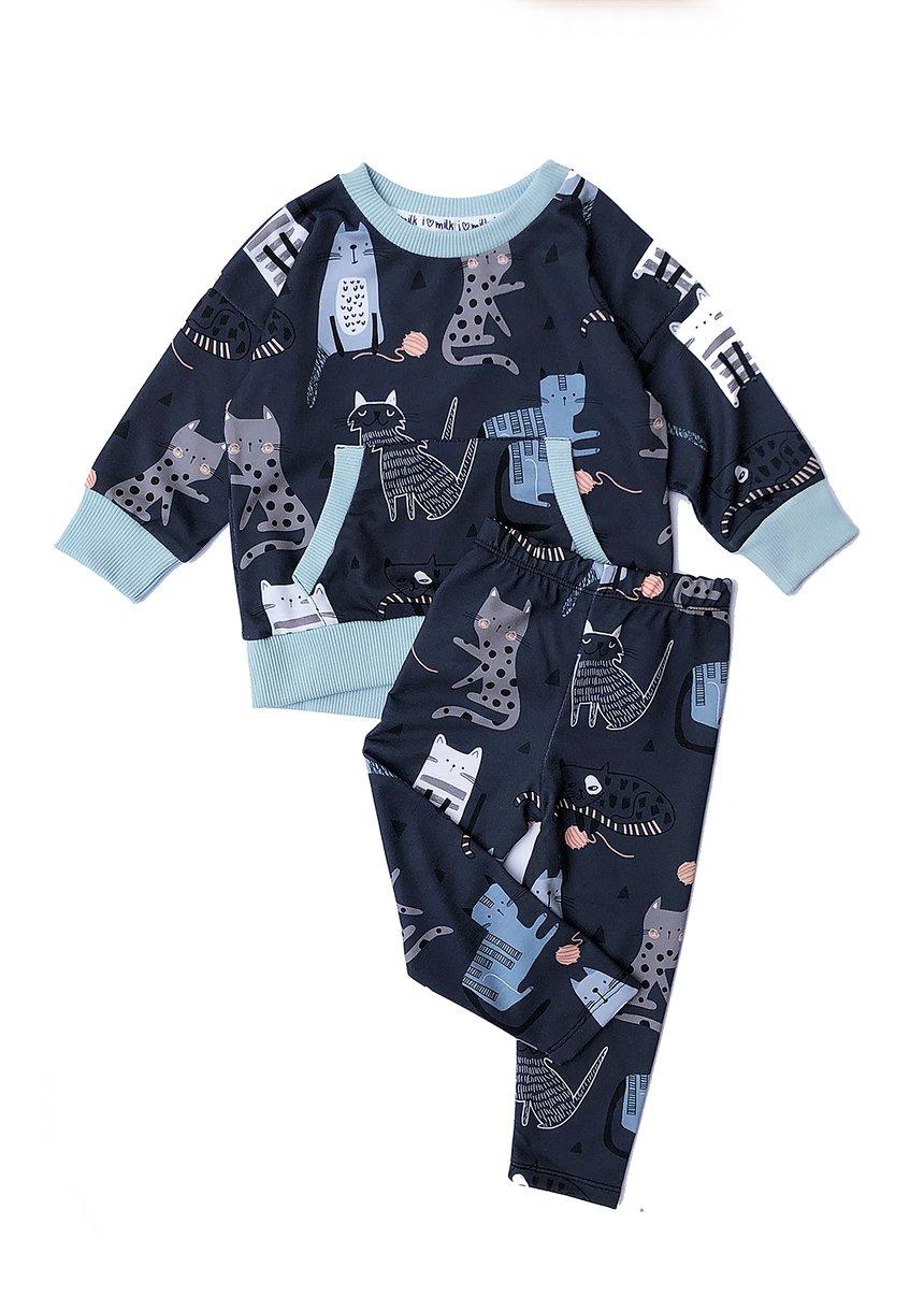 Bluza z kieszenią print Koty Błękitne
