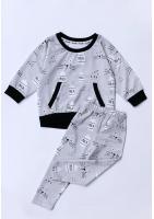 Bluza z kieszenią print Milk Szara