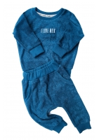 Spodnie z dzianiny frotte Turkusowe