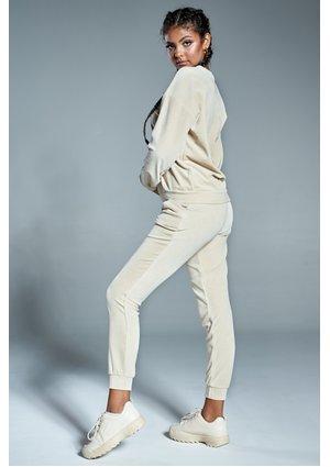 Spodnie z weluru mama Beżowe