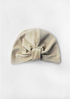 Czapeczka a'la turban z weluru Beżowa