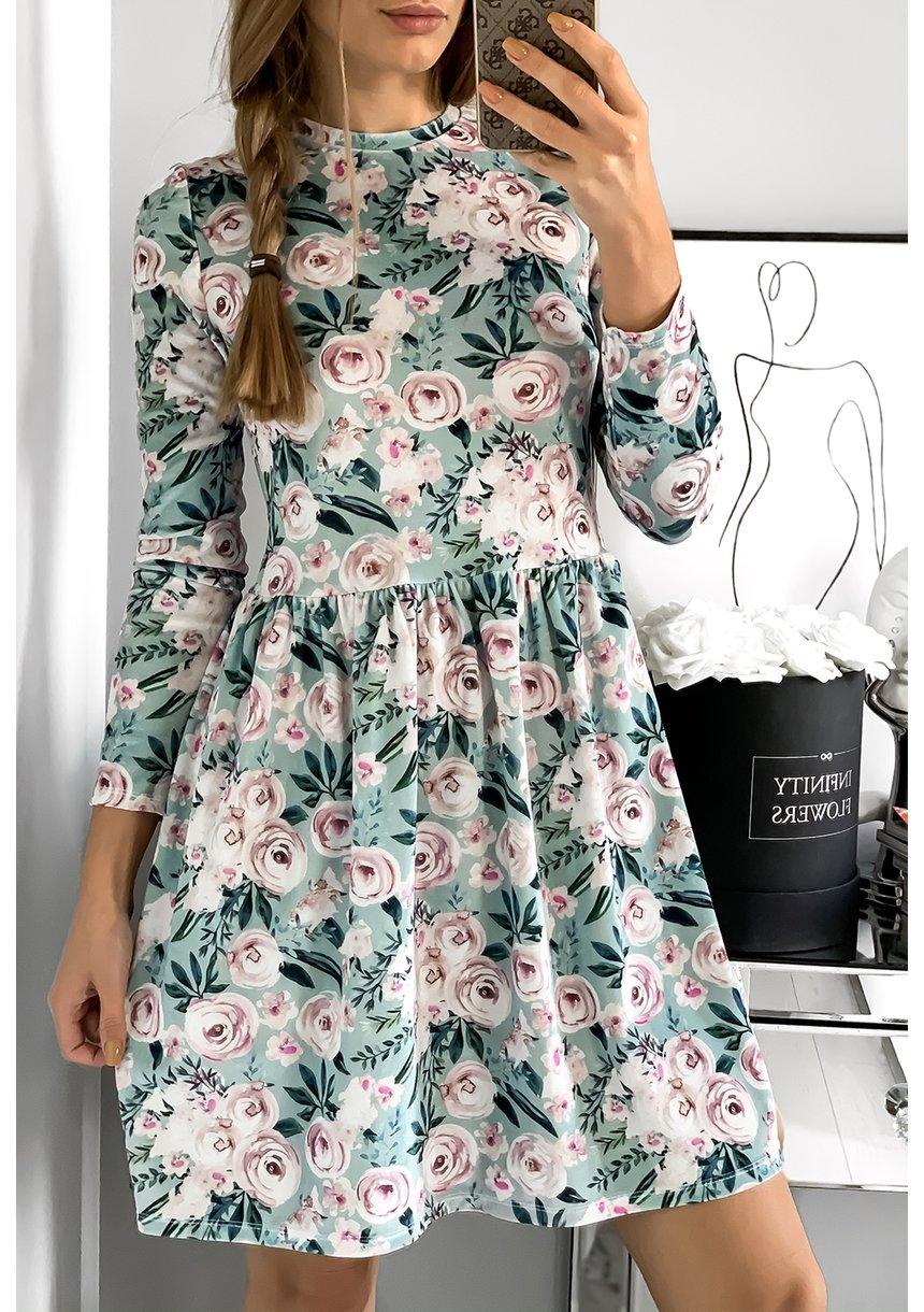 Sukienka velvet mama w kwiaty Miętowa