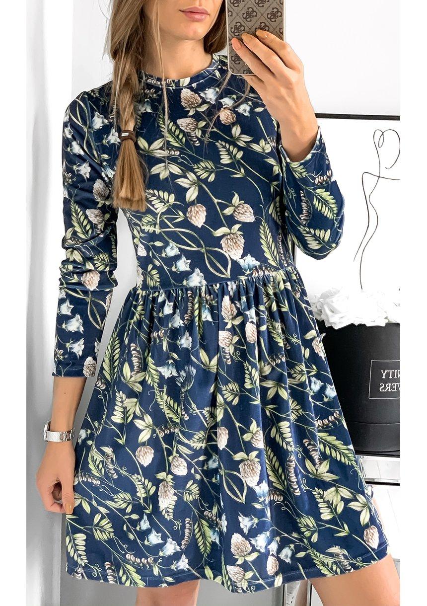 Sukienka velvet mama w kwiaty Granatowa