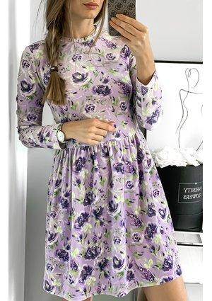 Sukienka velvet w kwiaty mama Fioletowa