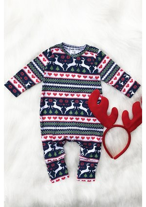 "LONG SLEEVES ROMPER ""WINTER HEARTS''"