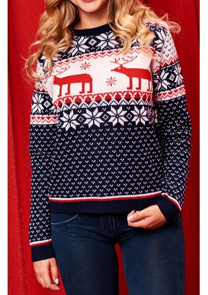 SWEATER MAMA NAVY DEER
