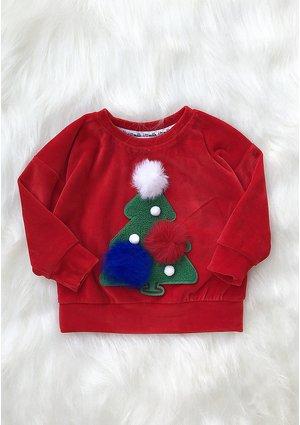 Bluza dziecięca z weluru Choinka Czerwona