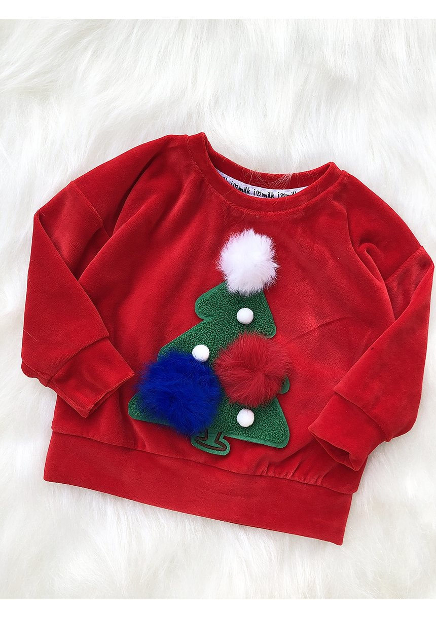 Bluza dziecięca z weluru z naszywką Choinka Czerwona