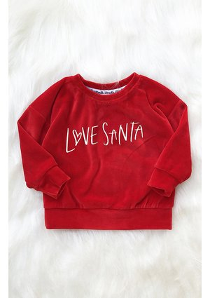 """Bluza dziecięca z weluru """" Love Santa"""" Czerwona"""