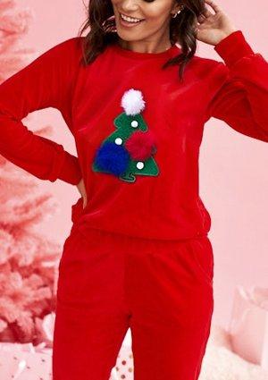 Bluza z weluru mama Choinka Czerwona