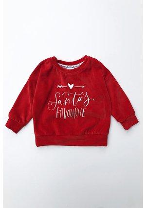 """Bluza dziecięca z weluru """" Santas Favourite"""" Czerwona"""