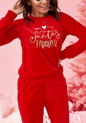 """Bluza z weluru mama """" Santas Favourite"""" Czerwona"""