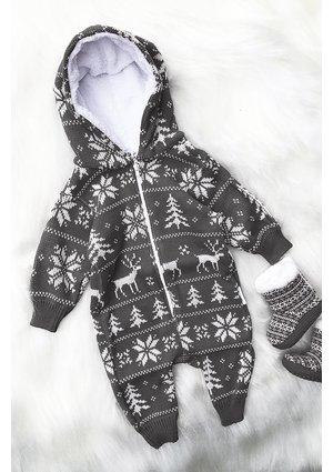 Sweterkowy onesie Winter time Szary
