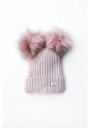 Ziomowa czapka dziecięca z pomponami PINK
