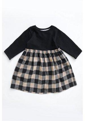 Sukienka dziewczęca z łączonych materiałów w kratkę