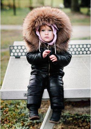 Kombinezon zimowy z futerkowym Obszyciem Czarny