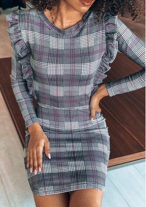 Dopasowana sukienka w kratę mama MSQ