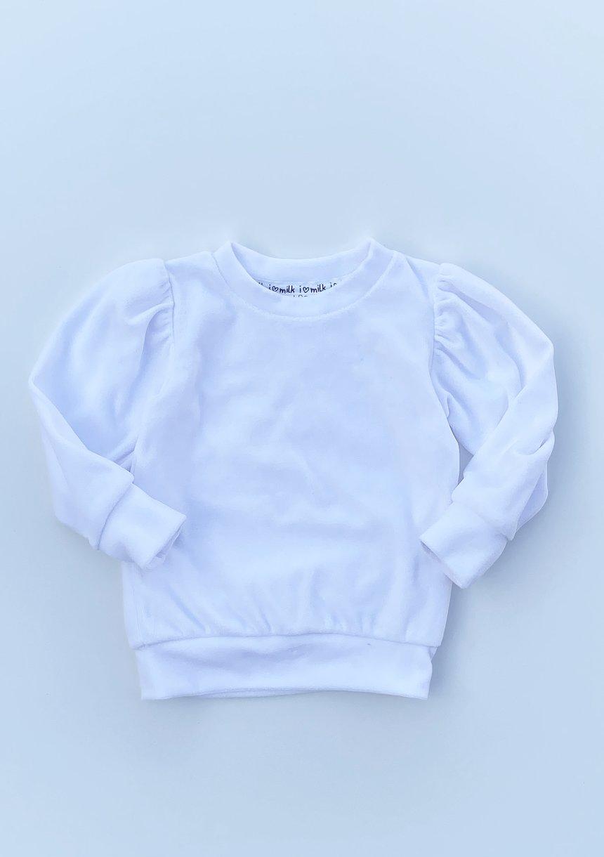 Welurowa bluza z bufką Biała