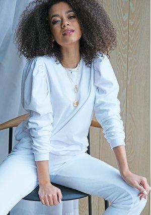 Welurowa bluza z bufką Biała mama MSQ