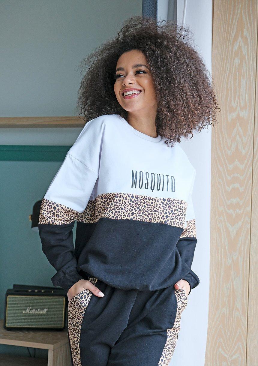 Spodnie mama ze wstawką leopard