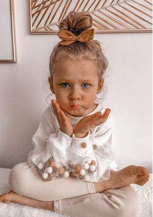 Bluza dziewczęca Pom Pom Kremowa