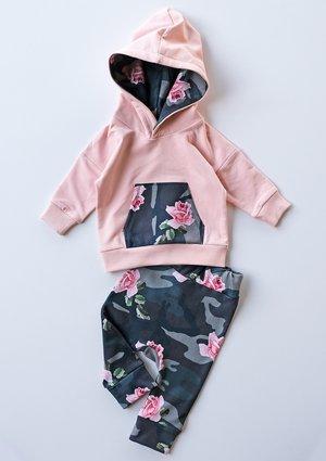 Spodnie dziecięce military Rose print