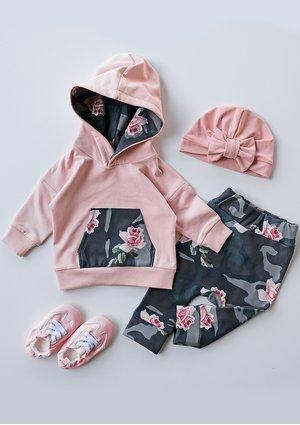 Bluza dziecięca z kapturem military Rose print