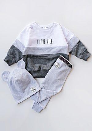 Bluza dziecięca ze wstawką Grey melange