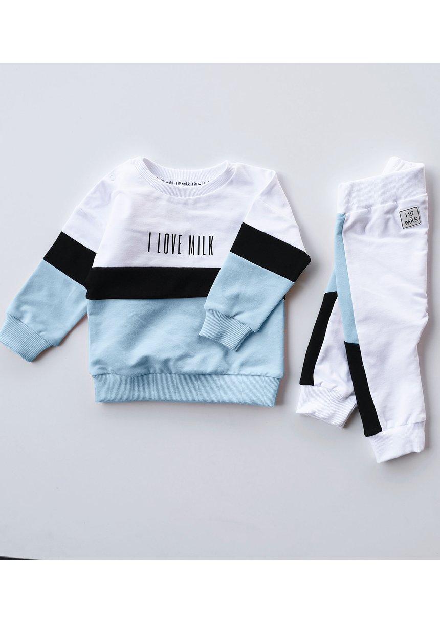 Spodnie dziecięce ze wstawką pastel Błękitne
