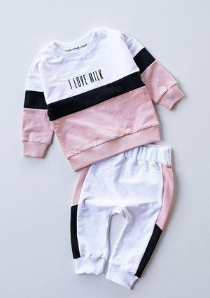 Bluza dziecięca ze wstawką pastel Pudrowa