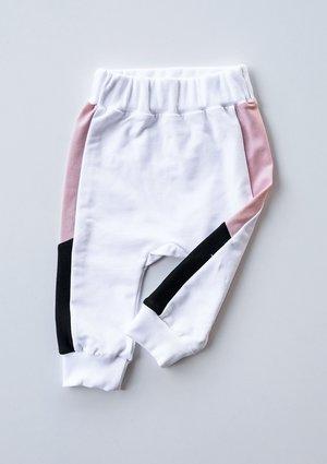 Spodnie dziecięce ze wstawką pastel Pudrowe