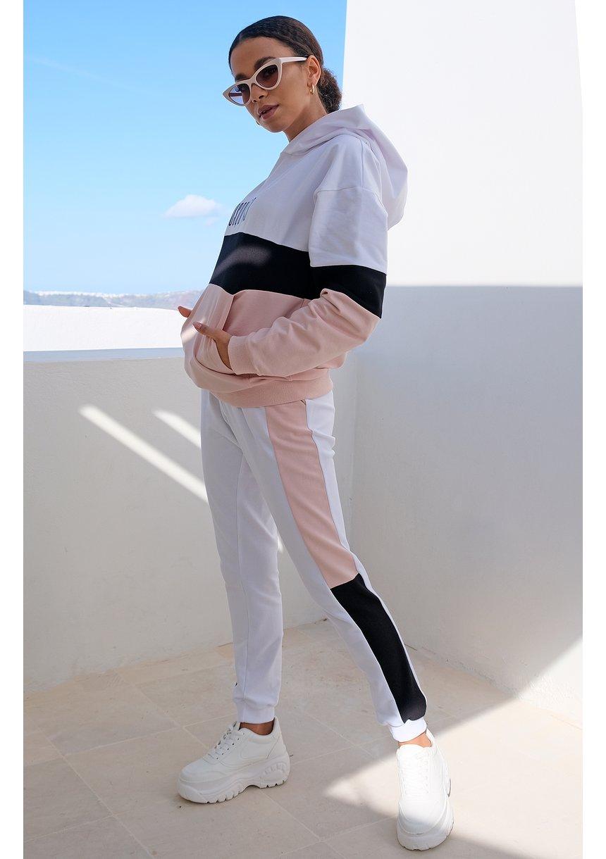 Bluza ze wstawką pastel mama pudrowa