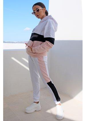 Spodnie ze wstawką pastel mama pudrowe