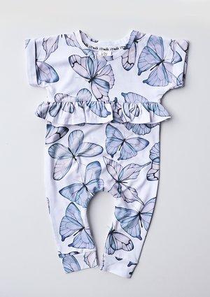 Romper dziewczęcy z krótkim rękawem Butterfly print Błękitny