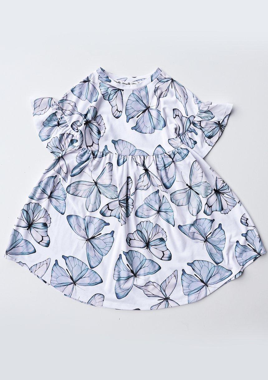 Sukienka dziewczęca Butterflu print Błękitna