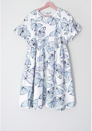 Sukienka damska Butterfly print Błękitna