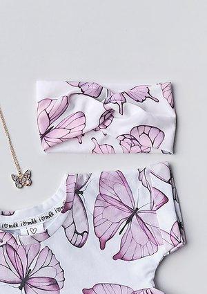 Opaska dziewczęca Butterfly print Różowa