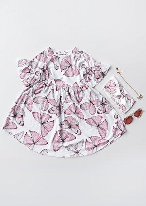 Sukienka dziewczęca Butterfly print Różowa