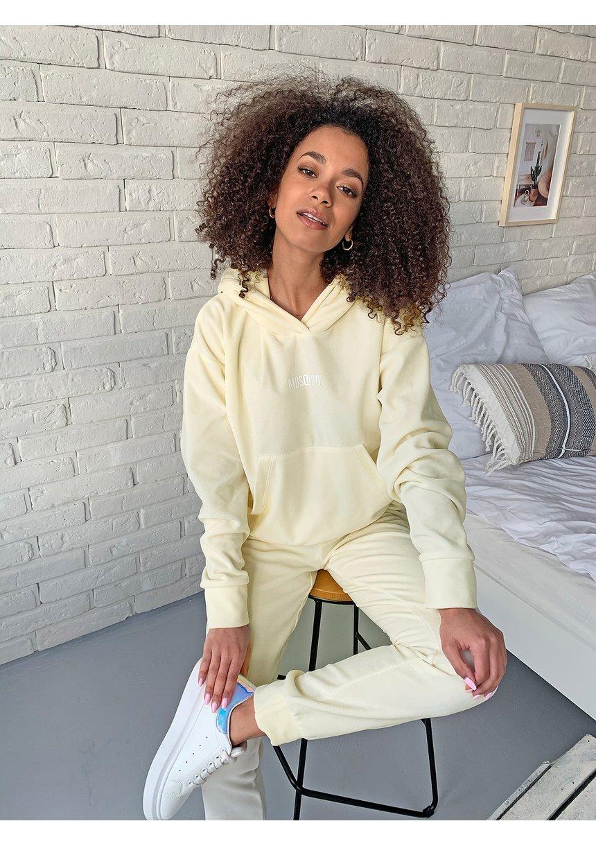 Damska welurowa bluza z kapturem w kolorze Bananowym ILM